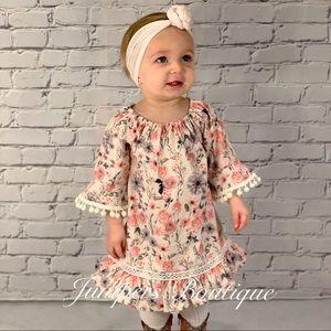 Boutique Girls Pink & Olive Floral Dress